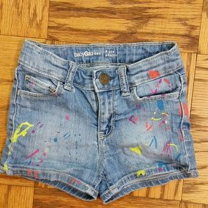 Baby Gap Girls Paint Splattered Jean Shorts, Sz 4
